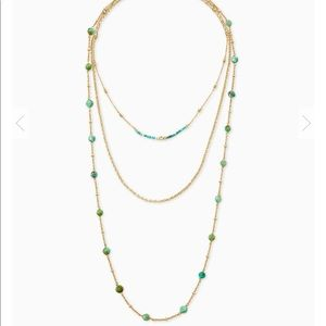 NWT Gold multi strand necklace in turquoise